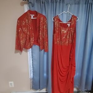 Red gown with gold sequins with bolero
